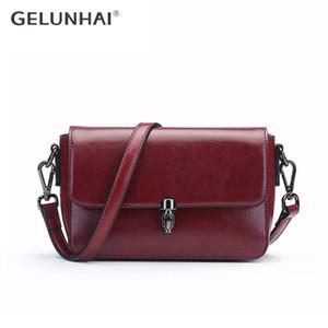 Donne Messenger Bag GELUNHAI Vintage 100% vera pelle nera classica borsa giornaliera di spalla casuale di Crossbody Brown piccolo lembo