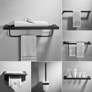 Tuqiu Banho Titular Acessórios Papel Shellf Corner, toalha titular, Toalheiros, Toilet Brush Holder Quadrado Preto Banho Hardware