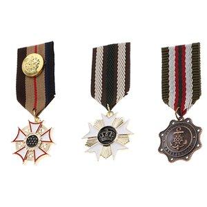 3 Pack medalla de concesión con la cinta, azul marino Estilo insignia Uniforme broche para Hombres Niños Niños Cosplay