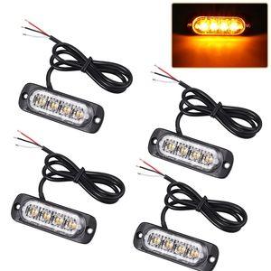 4pcs 4 LED ámbar Desglose de recuperación luces estroboscópicas 12V 24V Naranja Grill estroboscópica Strobe Luz de advertencia intermitente de emergencia Policía Grille