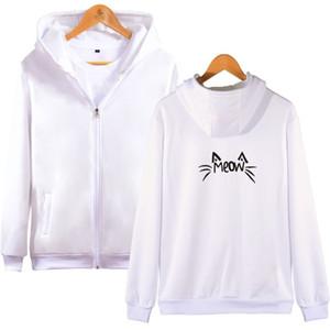 Chat Zipper Sweat à capuche motif imprimé Kawaii Mode unisexe Hoody Discount Vente Vêtements Sweat-shirt à manches longues