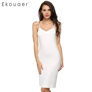 Ekouaer Summer Nightgown Lingerie Sexy Sleepwear Sliper Completo Roupa De Cama Algodão Longo Vestido De Noite Camisas De Noite Camisas De Dormir Roupa De Casa Y200425
