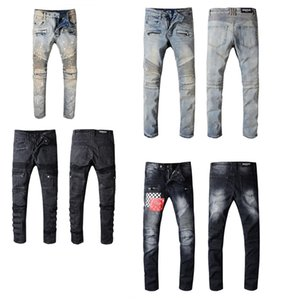 Klassische Balmain Qualitäts-Pants Light White Enges Loch-Jeans Herren Betteln Stil Löcher Vintage Fashion Jeans