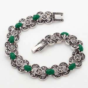 Indian Woman Bohemian Ethnic Jewelry Silver Color Bracelets Green Stones Jewelry wholesale