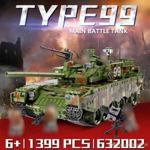 Panlos 632002 Военный танк 1339Pcs Тип 99 Основной боевой танк Строительные блоки Кирпичи Просветите игрушки Рождественский подарок