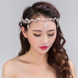 Mode Strass Argent Femmes De Mariage De Mariée Front Head Head Chain Coiffe Cristal Pendentif Mariée Tiara Bijoux De Cheveux Accessoire T190620