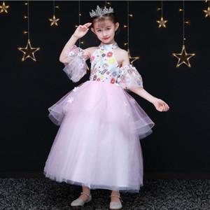 2019 Glizt Girls Appliqued 웨딩 드레스 (High) 저 (High 칼라 Pink 자 수 명주 공주 Birthday Dress 긴 First 성 찬송