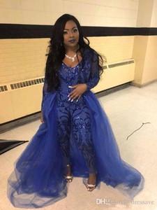 Suits Womens Pant Partido Africano vestidos de noite macacões mangas compridas Prom destacável Train Lace Applique Luxo