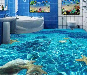 Decoración 3D piso del papel pintado Claro baño de agua de mar dormitorio del piso del papel pintado 3D para la sala de impresión de fotografías autoadhesivo antideslizante Wal