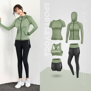 5pcs Sports Suits Womens Gym Yoga Set Plus Size 3XL High Waist Leggings Cropped Tops Fitness Sportswear Running Workout Clothing