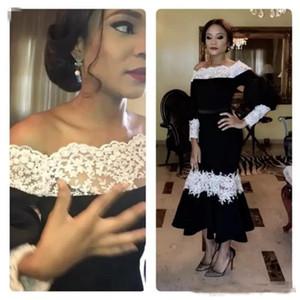 Chic Black Prom Dresses 2019 Weiße Spitze Applique Langarm Knöchellangen Abendkleid Sexy Schulterfrei Frauen Cocktailkleider