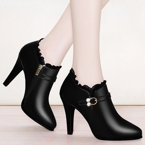 2019 Winter Super High Heels Ankle Boots Women Dress Shoes Lace Pointed Toe Botas Mujer Rhinestone Booties Gladiator Black N7837