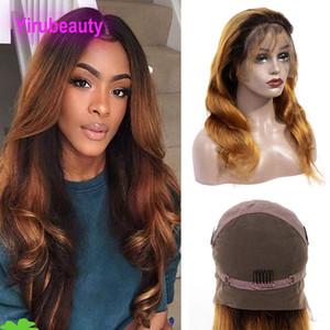Cheveux vierges indiens 1B 30 cheveux 100% vague de corps de cheveux humains pleine dentelle perruques 8-36 pouces 1B / 30 couleur pleine vague de corps de perruque de dentelle