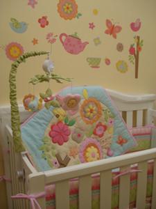 Förderung 7 Stücke Krippe bettwäsche set für baby mädchen 100% Baumwolle Baby bettwäsche Nette mädchen Krippe Stoßfänger set Cuna Quilt Bumper