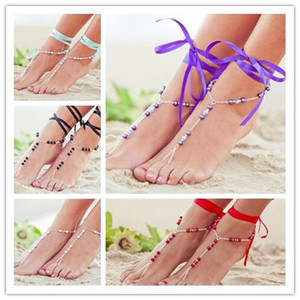 Bead Tornozelo Pulseiras de cadeia para Toe Mulheres Moda Senhora Pé Anel Sandália Barefoot Beach Decor Bandage tornozeleira jóias