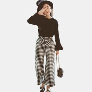2019 Çocuklar Kızlar Için Giyim 8 Ila 12 Yıl Genç Giyim Katı Gömlek + Çizgili Pantolon 2 Adet J190514