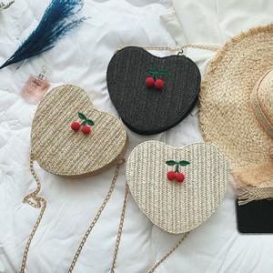 Les femmes en forme de coeur Sac de paille d'été en rotin rétro épaule en osier Weave bandouilière sac à main au Royaume-Uni
