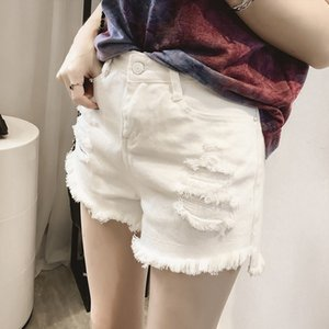 High Waist Button Slim Hole Short Pant Student Korean Streetwear Women Shorts Trousers 2020 New Casual Loose Jean Shorts