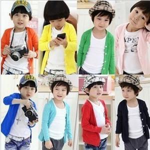 Nuevo estilo Primavera Otoño Algodón Cardigan de color caramelo Niños Niñas Cardigan Niños Outwear Niños Suéter