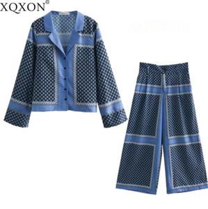 2019 Spring Summer Pajamas Style Two Piece Set Women Long Sleeve Printing Leisure Shirt High Waist Wide Leg Pants Suits