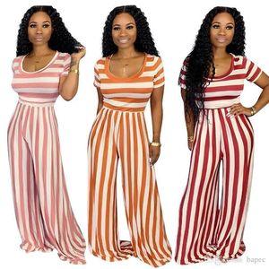 Комбинезоны модные дизайнерские сексуальные женские комбинезоны повседневные праздники короткие рукава 2 шт. брюки летние женские полосатые