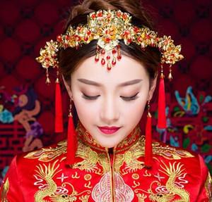 Antiker Kopfschmuck der Braut, chinesisches Xiuhe-Kleid, Haarschmuck, rote Quasten, klassische Step-Shake-Haarnadel-Ohrringe und Accessoires