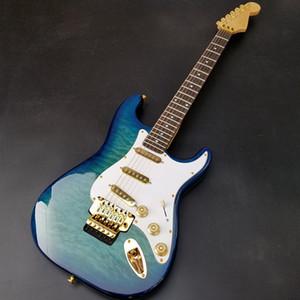 جودة عالية ST6 سلسلة الغيتار الكهربائي، هيئة الزيزفون، القيقب أعلى والأصابع الماهوجني، وموالف قفل، والأجهزة الذهب، وحرية الملاحة