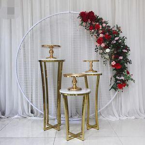 Casamento de aço inoxidável cenários grande evento arco estrada flores chumbo cadeira carrinho do bolo ouro artesanato estande plinto mesa do bolo da tabela da festa de sobremesa