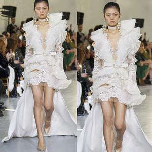 Elie Saab New Fashion Evening Gowns Lace Ruffles Long Sleeve Hi Lo Prom Party Dresses Runway Fashion Vestidos De Fiesta