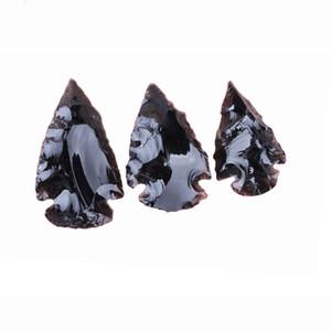 Roccia Maschio Healing Natural Point gemme pietra grezza nera ossidiana quarzo No branelli del foro Arrowhead Accessori di DIY che fanno per i pendenti