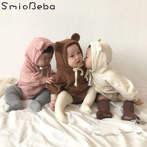 2018 Bebé Lindo Coreano Bebes Mamelucos Animales Lindos Niños Mamelucos Ropa Oso de Peluche Orejas Con Terciopelo Paquete Suave Bebé Niños Mameluco J190525