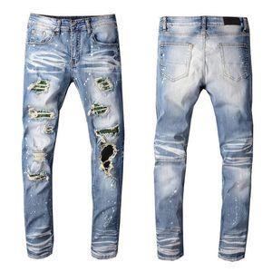 Luxury Fashion Mens Designer Jeans Men Women Classic Motorcycle Biker Slim Fit Jeans Denim Pants Mens Distressed Ripped Skinny Jeans Pants