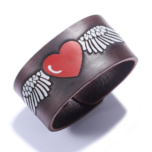 Vintage Cow Leather Bracelets Jewelry New Fashion High Quality Red Love Heart White Wings Totem Punk Width Charm Bracelets