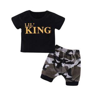 Ropa del verano de los cabritos sets + camuflaje Shorts Trajes Trajes Set 2pcs niños niño Niños bebés impresa letra de manga corta camiseta