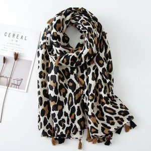 Women Leopard Tassel Scaw 180 * 90 MCM Spring Outumn Shalls Wrap Large Size Cotton And Linen Cover-Up Muslim Hijab Ladies Scarves