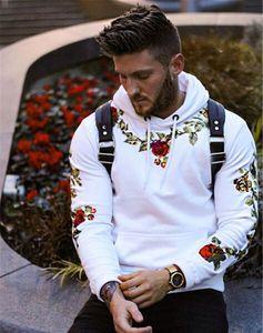 Brand New Mens Designer Floral Hoodies Mode broderie couleur solide Pull à capuche Hommes Hoodies desserrées Casual