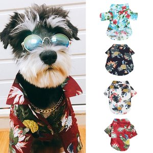 Pet Clothing Floral T Shirt Hawaiian For Small Large Dog Chihuahua Frech Fulldog Dog Cat Shirts Summer Beach Clothes Vest