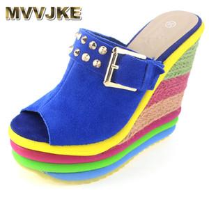 MVVJKE Sandalias Plataforma Summer Shoes Woman Bohemia Rainbow High Heel Slip On Peep Toe Platform Wedges Sandals Womens