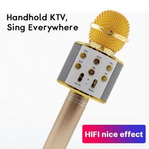 Bluetooth Microphone professionnel sans fil Haut-parleur Microphone Microphone à main Karaoke Mic Micro Chant Microfone fio ETM