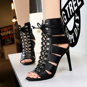 2020 Europe and the United States new high-top sandals sexy nightclub fine heel high-heeled cross strap fish mouth hollow sandals Roman shoe