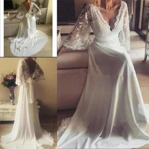 2021 Vintage Lace Long Sleeves Sexy V Neck Wedding Dresses with Ribbon Backless A Line Chiffon Bridal Wedding Gowns