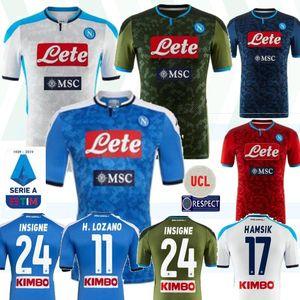 2019 2020 دوري الدرجة الاولى الايطالي نابولي نابولي هامسيك LOZANO INSIGNE لاعب كرة القدم بالقميص نابولي لكرة القدم الفانيلة الزرقاء قميص 19 20 شيرت