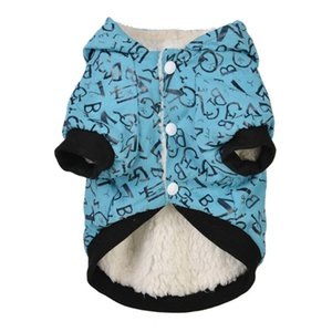 N küçük köpekler için Yavru Rahat Pamuk Coat Mektupları Desenler Sonbahar Kış Sıcak Ceket Hood Windproof kostümleri köpek ceket