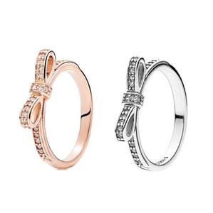 Стерлингового серебра 925 сверкающий лук кольцо набор оригинальный Box для Pandora зерна женщины свадьба CZ Алмаз бантом 18K розовое золото кольцо W156