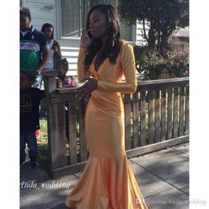 2019 с длинным рукавом русалка золотые атласные черные решетки платье выпускного вечера новое поступление спинки вечернее платье на заказ сделать плюс размер