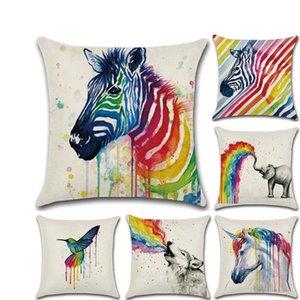 animal arc-en-Throw licorne Elephant taie d'oreiller de cas loup oiseau Coussin Home Office Sofa place navire Pillow drop Case