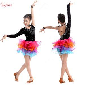 Girl Latin Dance Rumba Samba Clothing Girls Salsa Dresses Girls Stage Wear Costumes Kid's Ballroom Dressing Chinese Folk Dancing