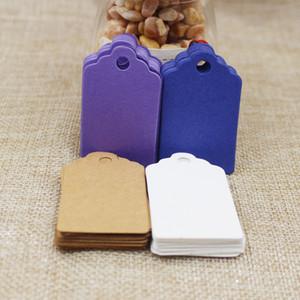 ome Garden 2018 vente chaude 100pcs 5 * 3cm bricolage Kraft / papier blanc / violet / bleu blanc Mots pétoncle Droites Marque bagages mariage note prix de blanc ...