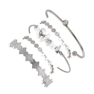 5 шт / комплект 2020 New Bohemia браслет Многослойного Vintage Silver Цвет монеты Chain Wave Круглых браслеты для женщин ювелирных изделий