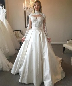 High Neck Long Sleeve Wedding Dresses Sweep Train Sheer Neck Bead Satin Bridal Gowns Tiered Ruffles Customize Wedding Dress